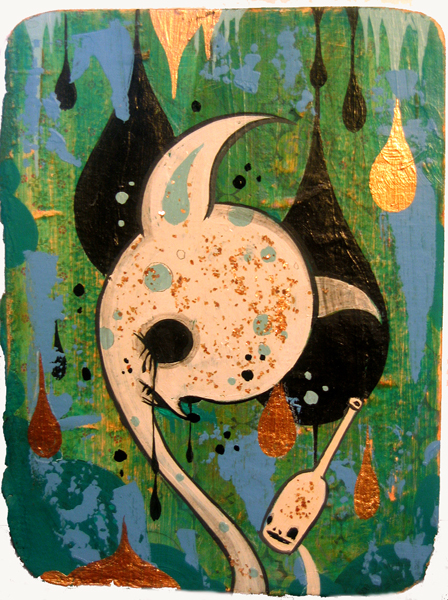 Camille Rose  Garcia -  <strong>White Cave Deer</strong> (2006<strong style = 'color:#635a27'></strong>)<bR /> Acrylic and gold mica on paper,   7 x 5 1/2 inches