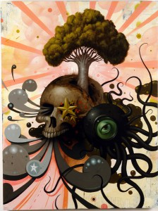 Jeff  Soto -  <strong>Wild Growth</strong> (2005<strong style = 'color:#635a27'></strong>)<bR /> Acrylic/mixed media on Wood  48 x 36 inches