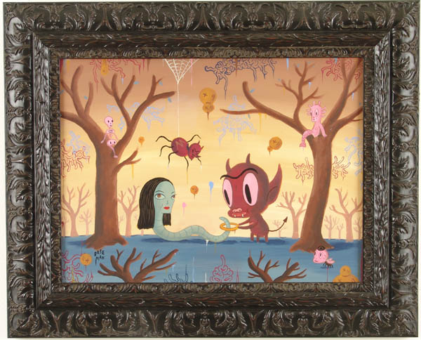 Gary  Baseman -  <strong>With thee Halo</strong> (2005<strong style = 'color:#635a27'></strong>)<bR /> Acrylic on Wood Panel,   18 x 24 inches