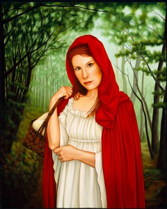 Isabel  Samaras -  <strong>Femina in Fabula (The Woman in the Tale)</strong> (2006<strong style = 'color:#635a27'></strong>)<bR /> Oil on Wood,   Image size: 30 x 23 inches,   Framed size: 36 x 30 inches