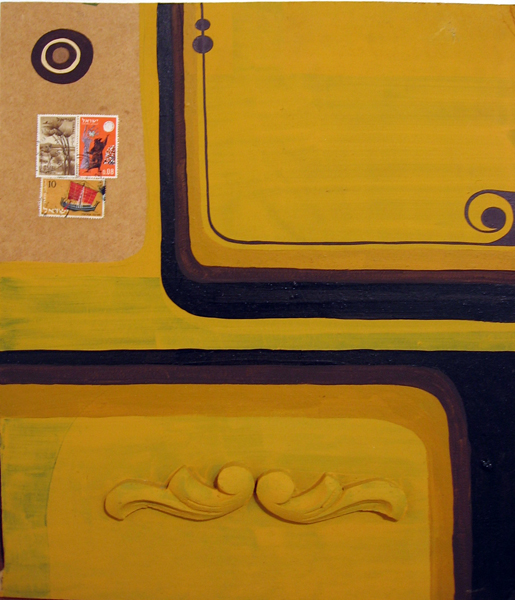 Kboco  &nbsp -  <strong>Amarelo</strong> (<strong style = 'color:#635a27'></strong>)<bR /> Mixed Media on Found Wood,   15 x 12 1/2 inches