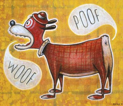 """Daniel  Peacock -  <strong>Woof & Poof</strong> (<strong style = 'color:#635a27'></strong>)<bR /> acrylic on board  Framed: 16.5"""" x 14.5"""""""