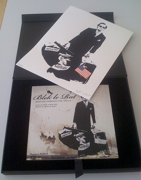 Blek le Rat  &nbsp -  <strong>Blek le Rat Limited Edition Book set by Wooster Collective</strong> (2008<strong style = 'color:#635a27'></strong>)<bR /> Limited edition book set by Wooster Collective,   Includes book, case with gold rat on the cover and signed print! only 300 in the edition.