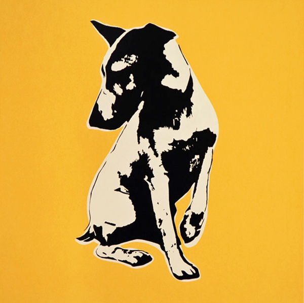 Blek le Rat  &nbsp -  <strong>His Master's Voiceless (yellow) - print</strong> (2008<strong style = 'color:#635a27'></strong>)<bR /> 4 colour screenprint including varnish on Somerset Sation 300gsm,   Edition of 100,   Image size: 21 x 21 inches,   Paper size: 29 x 29 inches