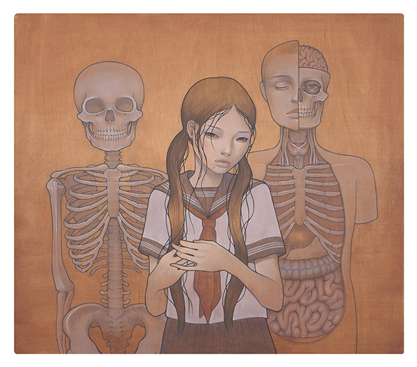 Audrey  Kawasaki -  <strong>Yuugure no Houkago (Afterschool)</strong> (2009<strong style = 'color:#635a27'></strong>)<bR /> oil and graphite on wood,   26.5 x 30 inches  (67.31 x 76.2 cm)