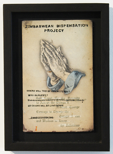Faith47  &nbsp -  <strong>Zimbabwean Dispensation Project</strong> (2012<strong style = 'color:#635a27'></strong>)<bR />  ink on found object,   10.5 x 7.6 inches  (26.7 x 19cm)