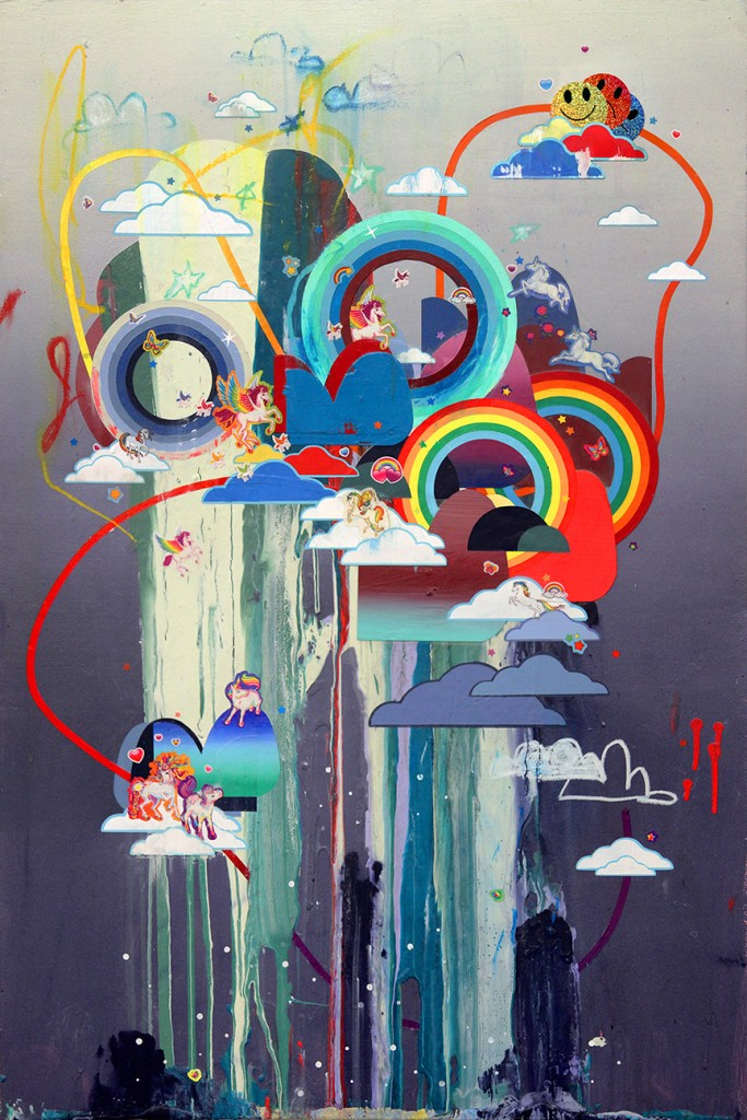 Erik Jones -  <strong>A Place Where the Immortals Go</strong> (2016<strong style = 'color:#635a27'></strong>)<bR /> acrylic, wax pastel, assorted paper and sticker collage on Rives BFK paper mounted to wood panel, 36 x 24 in. (91.4 x 61 cm)