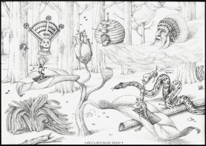 Interesni Kazki -  <strong>Accident in the Forest (AEC)</strong> (2015<strong style = 'color:#635a27'></strong>)<bR />  ink on paper,   8.3 x 11 inches  (21 x 28 cm)