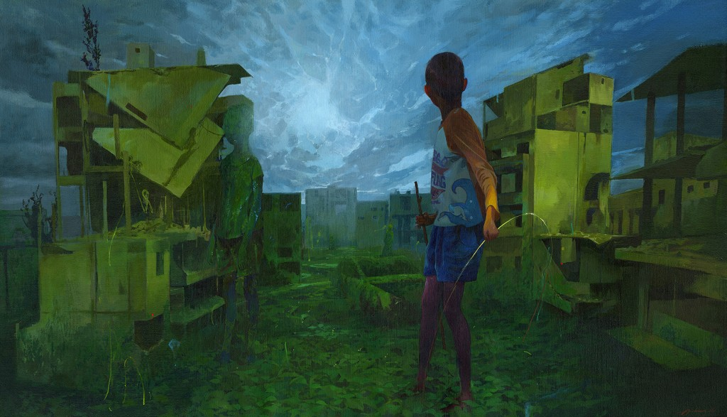Andrew Hem -  <strong>Rebirth</strong> (2016<strong style = 'color:#635a27'></strong>)<bR /> acrylic on linen wrapped panel, 26 x 45 inches, (66.04 X 114.3 cm)
