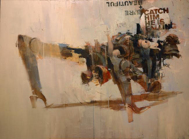 Ashley Wood -  <strong>Amoroso</strong> (2016<strong style = 'color:#635a27'></strong>)<bR /> mixed media on canvas, 18 x 36 inches, (45.72 x 91.44 cm