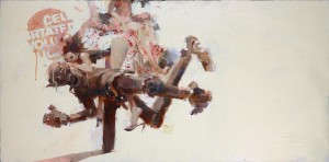 Ashley Wood -  <strong>If Wishes Were Robots</strong> (2016<strong style = 'color:#635a27'></strong>)<bR /> mixed media on canvas, 36 x 48 inches, (91.44 x 121.92 cm)