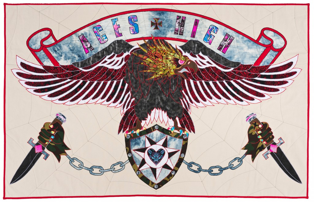 Ben Venom -  <strong>Aces High</strong> (2015<strong style = 'color:#635a27'></strong>)<bR /> hand-made quilt with recycled fabric, 60 x 95 inches, (152.4 x 241.3 cm)