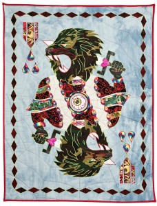 Ben Venom -  <strong>King for a Day</strong> (2015<strong style = 'color:#635a27'></strong>)<bR /> hand-made quilt with recycled fabric, 57 x 45 inches, (144.8 x 114.3 cm)