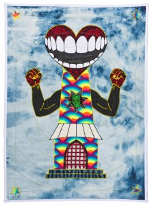 Ben Venom -  <strong>Open Wide</strong> (2015<strong style = 'color:#635a27'></strong>)<bR /> hand-made quilt with recycled fabric, 37 x 27 inches, (94 x 68.6 cm)