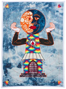 Ben Venom -  <strong>Total Eclipse</strong> (2015<strong style = 'color:#635a27'></strong>)<bR /> hand-made quilt with recycled fabric, 37 x 27 inches, (94 x 68.6 cm)