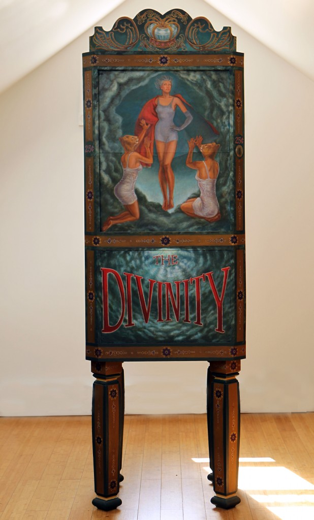 Lawrence Berzon -  <strong>The Divinity</strong> (2011<strong style = 'color:#635a27'></strong>)<bR /> oil on fiberglass, wood construction, audio-animatronics, 84 x 29 x 24 inches, (213.36 x 73.66 x 60.96 cm)