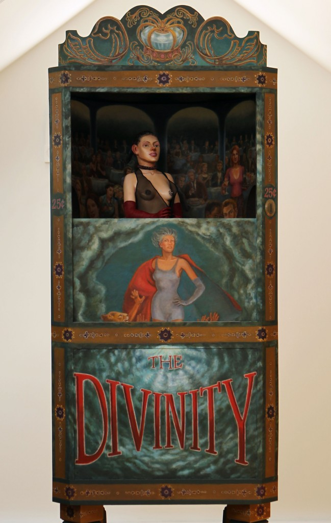 Lawrence Berzon -  <strong>The Divinity (detail)</strong> (2011<strong style = 'color:#635a27'></strong>)<bR /> oil on fiberglass, wood construction, audio-animatronics, 84 x 29 x 24 inches, (213.36 x 73.66 x 60.96 cm)