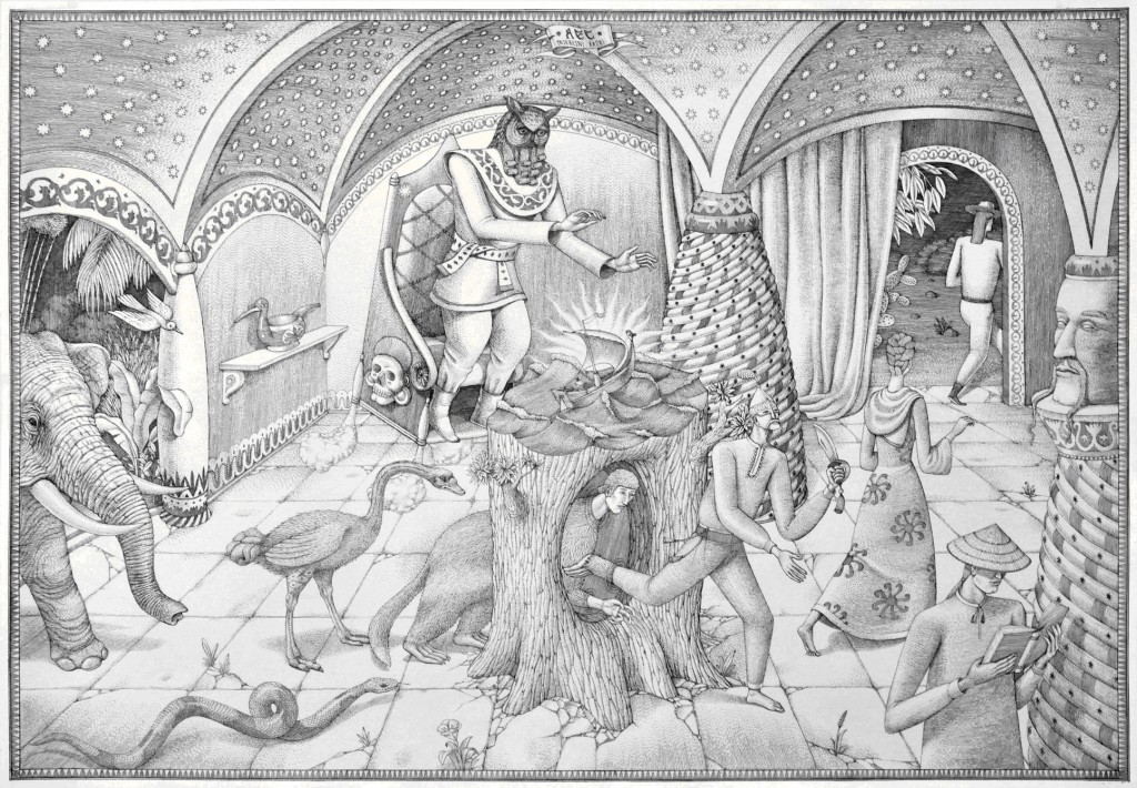 Interesni Kazki -  <strong>The Humanization (AEC)</strong> (2014<strong style = 'color:#635a27'></strong>)<bR />  ink on paper,   17.7 x 25.8 inches  (45 x 65.5 cm)