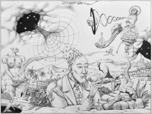 Interesni Kazki -  <strong>The Scientific Experiment (AEC)</strong> (2015<strong style = 'color:#635a27'></strong>)<bR />  ink on paper,   11.6 x 15.4 inches  (29.5 x 39 cm)