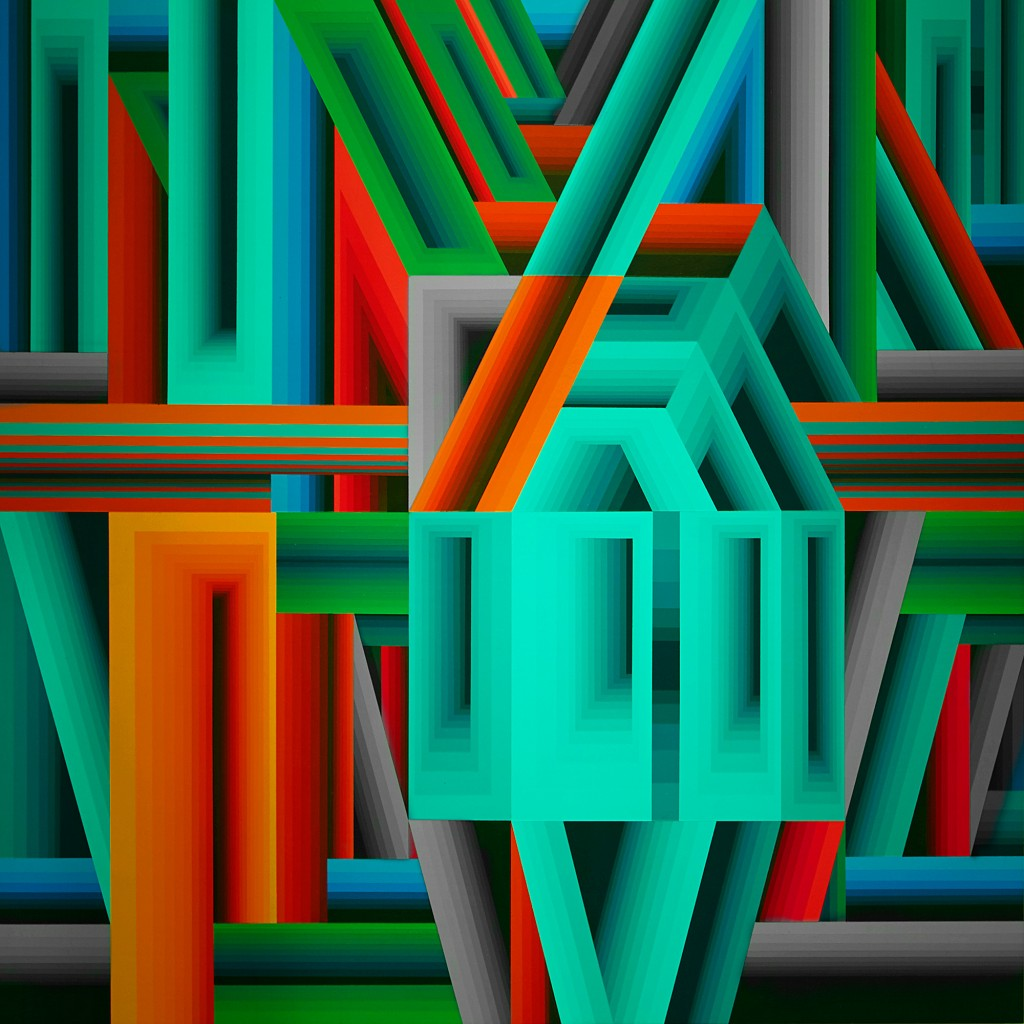 James Marshall (Dalek) -  <strong>Untitled 5</strong> (2015<strong style = 'color:#635a27'></strong>)<bR /> acrylic on wood, 20 x 20 inches, (50.8 x 50.8 cm)
