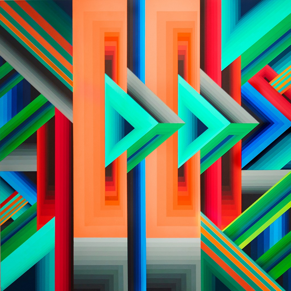 James Marshall (Dalek) -  <strong>Untitled 1</strong> (2015<strong style = 'color:#635a27'></strong>)<bR /> acrylic on wood, 16 x 16 inches, (40.64 x 40.64 cm)