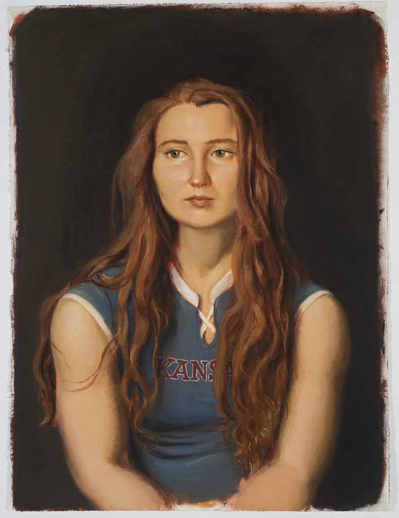 Jansson Stegner -  <strong>Kansas</strong> (2016<strong style = 'color:#635a27'></strong>)<bR /> oil on paper, 30 x 22 inches (76.2 x 55.88 cm)