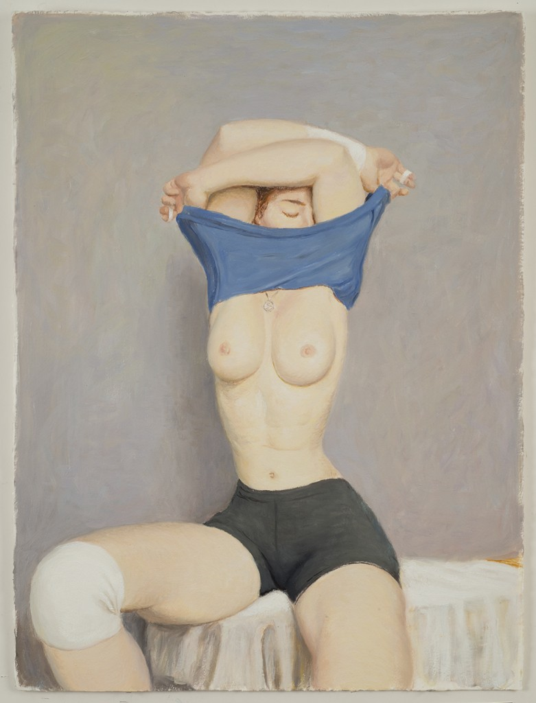 Jansson Stegner -  <strong>Undressing</strong> (2016<strong style = 'color:#635a27'></strong>)<bR /> oil on paper, 30 x 22 inches, (76.2 x 55.88 cm)