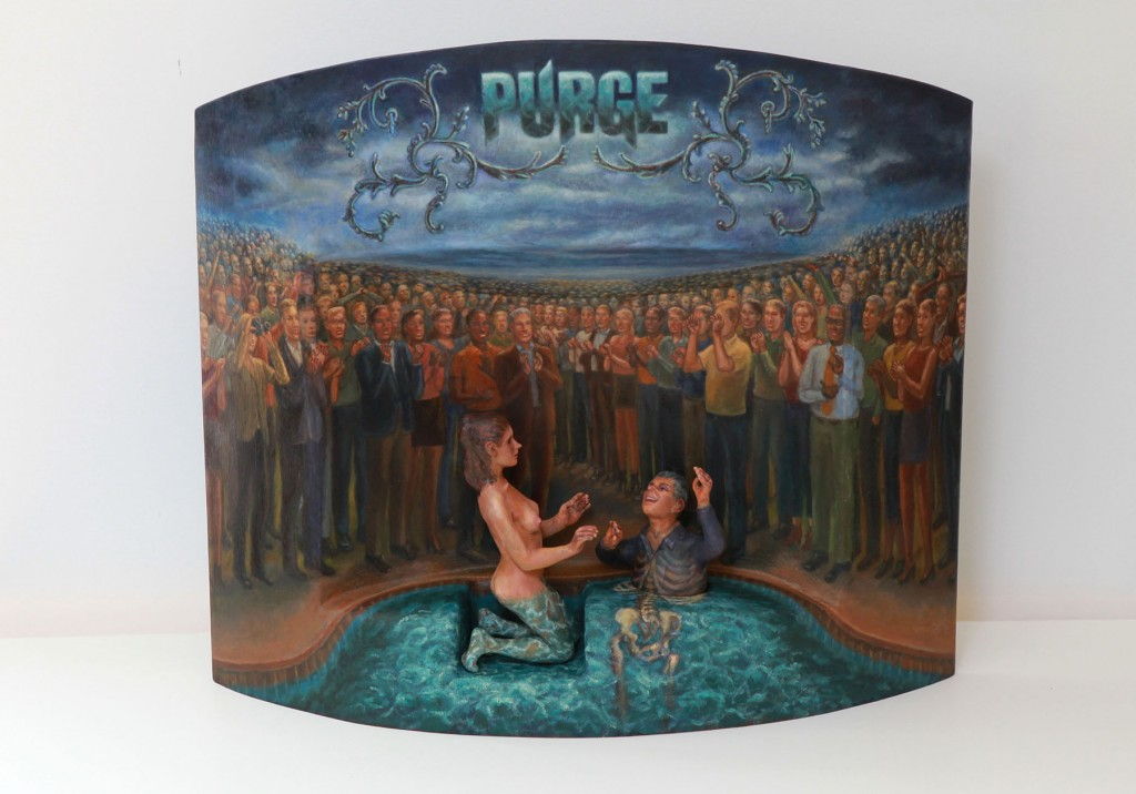 Lawrence Berzon -  <strong>Purge</strong> (2012<strong style = 'color:#635a27'></strong>)<bR /> oil on cast urethane and wood construction, 18 x 25 x 5 inches, (45.72 x 63.5 x 12.7 cm)
