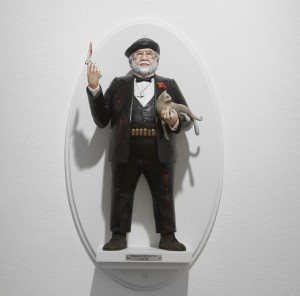 Mike Leavitt -  <strong>Francis Ford Coppola</strong> (2016<strong style = 'color:#635a27'></strong>)<bR /> hand-carved western red cedar, fimo, sculpey polymer clay and acrylic paint, 18 inches (45.7 cm) $7,200