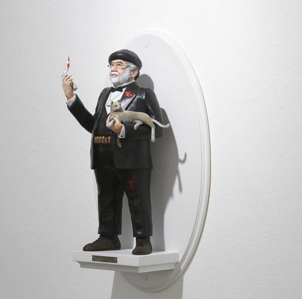 Mike Leavitt -  <strong>Francis Ford Coppola (side)</strong> (2016<strong style = 'color:#635a27'></strong>)<bR /> hand-carved western red cedar, fimo, sculpey polymer clay and acrylic paint, 18 inches (45.7 cm)