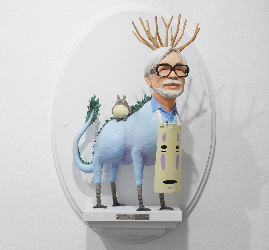 Mike Leavitt -  <strong>Hayao Miyazaki</strong> (2016<strong style = 'color:#635a27'></strong>)<bR /> hand-carved western red cedar and acrylic paint, 18 inches (45.7 cm)