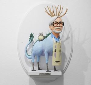Mike Leavitt -  <strong>Hayao Miyazaki</strong> (2016<strong style = 'color:#635a27'></strong>)<bR /> hand-carved western red cedar and acrylic paint, $7,200
