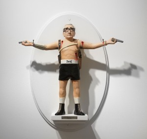 Mike Leavitt -  <strong>Martin Scorsese</strong> (2016<strong style = 'color:#635a27'></strong>)<bR /> hand-carved western red cedar, fimo, sculpey polymer clay and acrylic paint, 18 inches (45.7 cm) $7,200