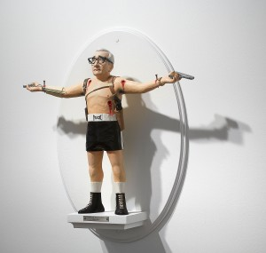 Mike Leavitt -  <strong>Martin Scorsese (side)</strong> (2016<strong style = 'color:#635a27'></strong>)<bR /> hand-carved western red cedar, fimo, sculpey polymer clay and acrylic paint, 18 inches (45.7 cm)