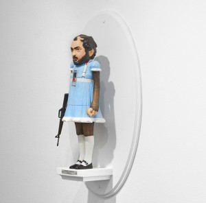 Mike Leavitt -  <strong>Stanley Kubrick (side)</strong> (2016<strong style = 'color:#635a27'></strong>)<bR /> hand-carved western red cedar, fimo, sculpey polymer clay and acrylic paint, 18 inches (45.7 cm)