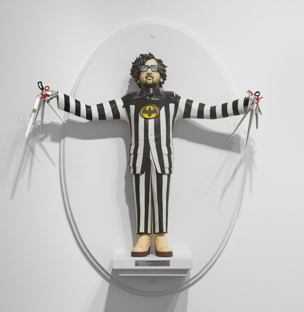 Mike Leavitt -  <strong>Tim Burton</strong> (2016<strong style = 'color:#635a27'></strong>)<bR /> hand-carved western red cedar, white pine, basswood, fimo, sculpey polymer clay and acrylic paint, 18 inches (45.7 cm)