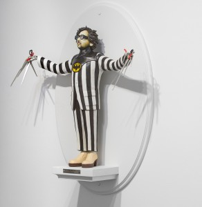 Mike Leavitt -  <strong>Tim Burton (side)</strong> (2016<strong style = 'color:#635a27'></strong>)<bR /> hand-carved western red cedar, white pine, basswood, fimo, sculpey polymer clay and acrylic paint, 18 inches (45.7 cm)