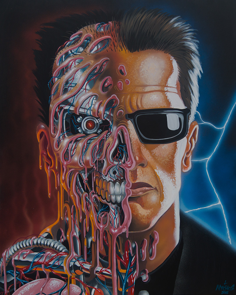 Nychos -  <strong>Arnie Meltdown</strong> (2016<strong style = 'color:#635a27'></strong>)<bR /> acrylic on canvas, 60 x 48 in. (152.4 x 121.9 cm)