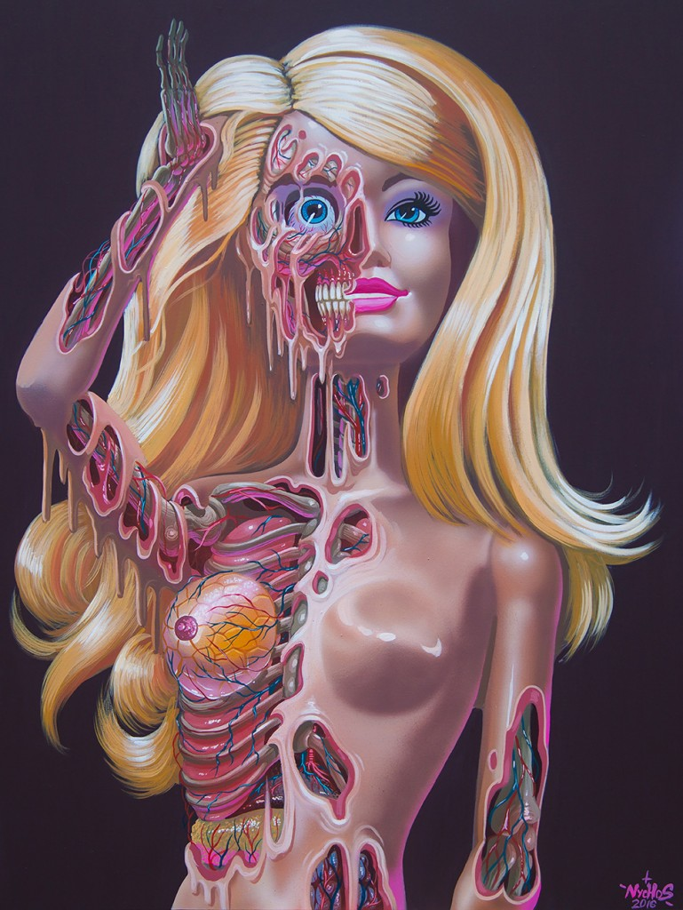 Nychos -  <strong>Barbie Meltdown</strong> (2016<strong style = 'color:#635a27'></strong>)<bR /> acrylic on canvas, 48 x 36 in. ( 121.9 x 91.4  cm)