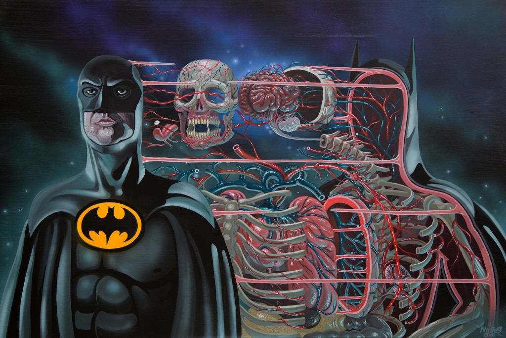 Nychos -  <strong>Dissection of Batman</strong> (2016<strong style = 'color:#635a27'></strong>)<bR /> acrylic on canvas, 48 x 72 in. (121.9 x 182.9 cm)