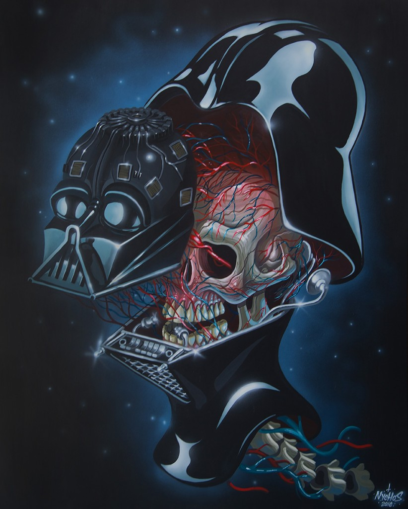 Nychos -  <strong>Dissection of Darth Vader's Head</strong> (2016<strong style = 'color:#635a27'></strong>)<bR /> acrylic on canvas, 60 x 48 in. (152.4 x 121.9 cm)