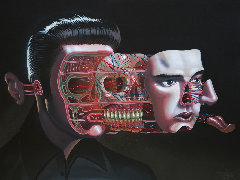 Nychos -  <strong>Dissection of Elvis</strong> (2016<strong style = 'color:#635a27'></strong>)<bR /> acrylic on canvas, 36 x 48 in. (91.4 x 121.9 cm)