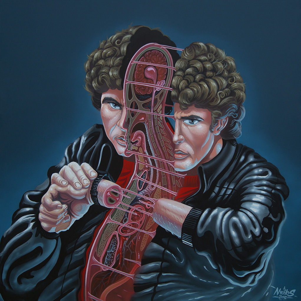 Nychos -  <strong>Dissection of Hasselhoff</strong> (2016<strong style = 'color:#635a27'></strong>)<bR /> acrylic on canvas, 48 x 48 in. (121.9 x 121.9 cm)