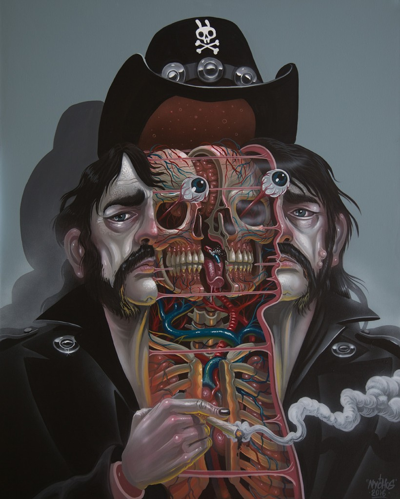 Nychos -  <strong>Dissection of Lemmy</strong> (2016<strong style = 'color:#635a27'></strong>)<bR /> acrylic on canvas, 60 x 48 in. (152.4 x 121.9 cm)