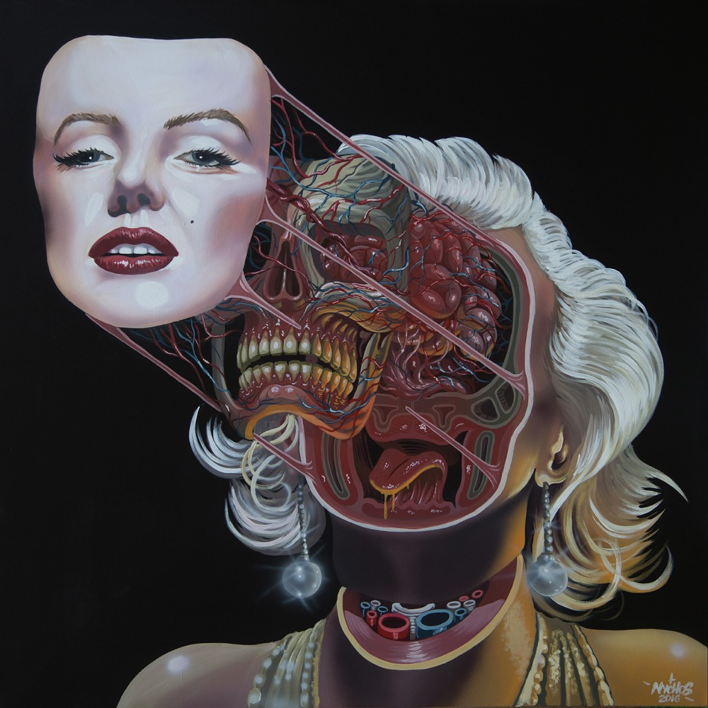 Nychos -  <strong>Dissection of Marilyn</strong> (2016<strong style = 'color:#635a27'></strong>)<bR /> acrylic on canvas, 48 x 48 in. (121.9 x 121.9 cm)
