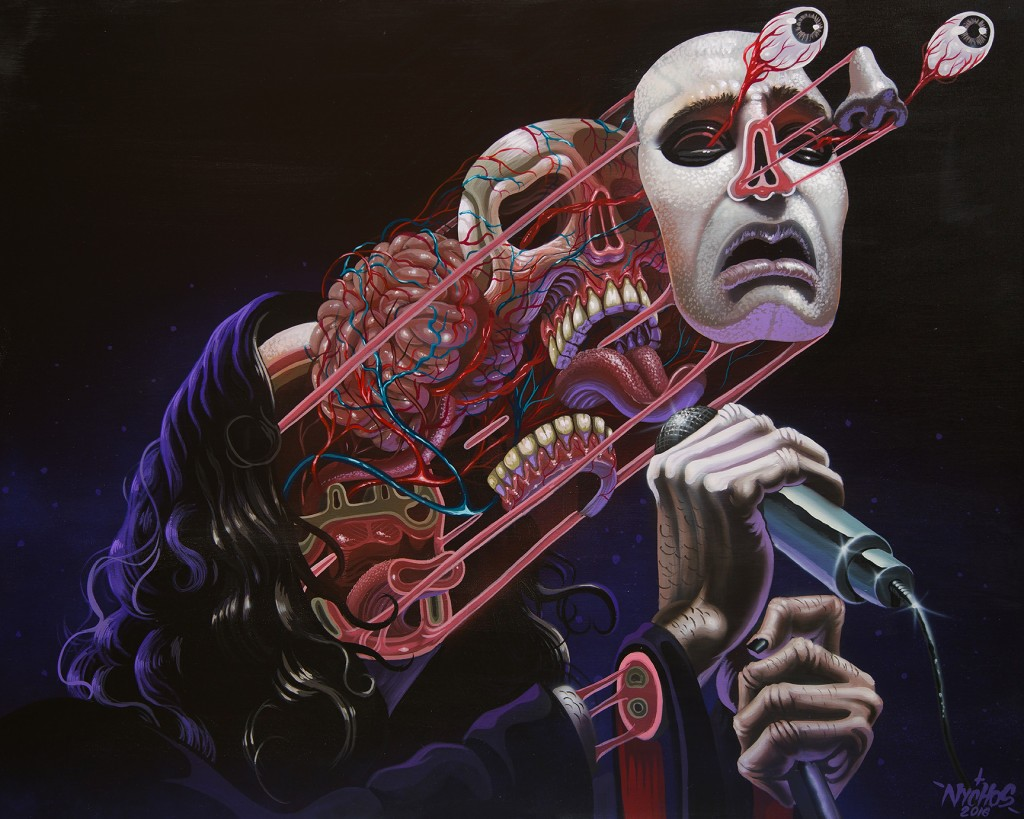Nychos -  <strong>Dissection of Ozzy</strong> (2016<strong style = 'color:#635a27'></strong>)<bR /> acrylic on canvas, 48 x 60 in. (121.9 x 152.4 cm)
