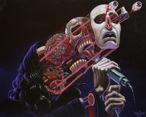 Nychos -  <strong>Dissection of Ozzy</strong> (2016<strong style = 'color:#635a27'></strong>)<bR /> acrylic on canvas, 48 x 60 in. (121.9 x 152.4 cm)   $7,500
