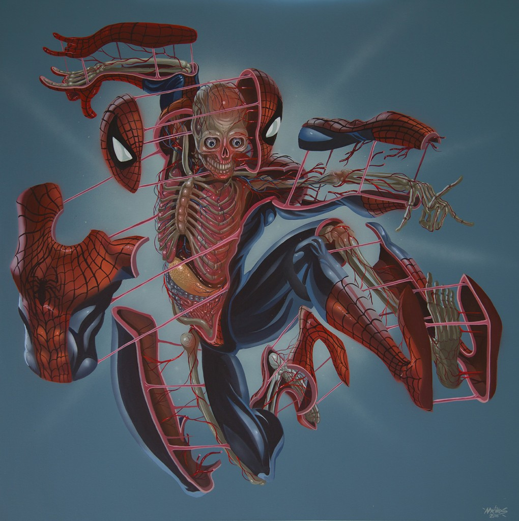 Nychos -  <strong>Dissection of Spiderman</strong> (2016<strong style = 'color:#635a27'></strong>)<bR /> acrylic on canvas, 48 x 48 in. (121.9 x 121.9 cm)