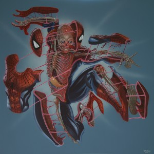 Nychos -  <strong>Dissection of Spiderman</strong> (2016<strong style = 'color:#635a27'></strong>)<bR /> acrylic on canvas, 48 x 48 in. (121.9 x 121.9 cm)   $6,500