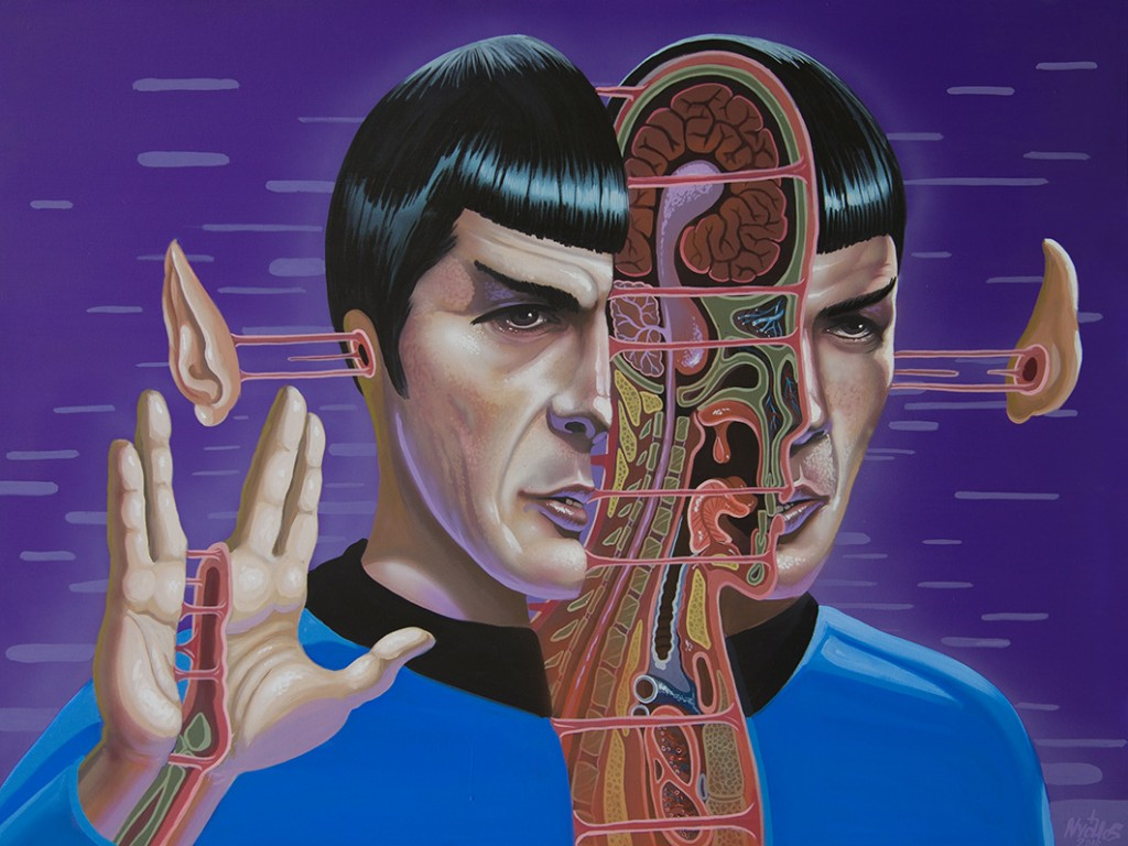 Nychos -  <strong>Dissection of Spock</strong> (2016<strong style = 'color:#635a27'></strong>)<bR /> acrylic on canvas, 36 x 48 in. (91.4 x 121.9 cm)
